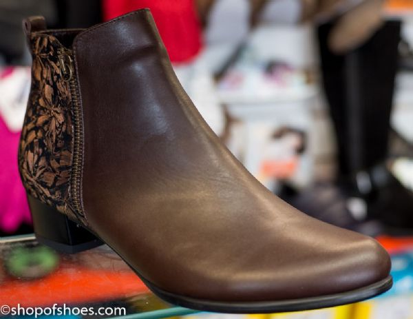 Deep brown leather smart looking heeled ankle boot.